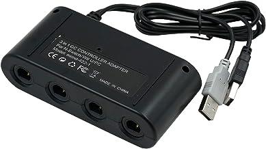 Gamecube Gam3Gear Controller Adaptador 4 ranuras con Turbo y botones de inicio para N-Switch / Wii U / PC con llavero Gam3Gear