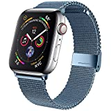 jwacct Bands Compatible for Apple Watch 42mm 44mm, Adjustable Magnetic Stainless Steel Bracelet Mesh Strap Sport Loop for Women/Men iWatch Series 6/5/4/3/2/1 and SE, Blue