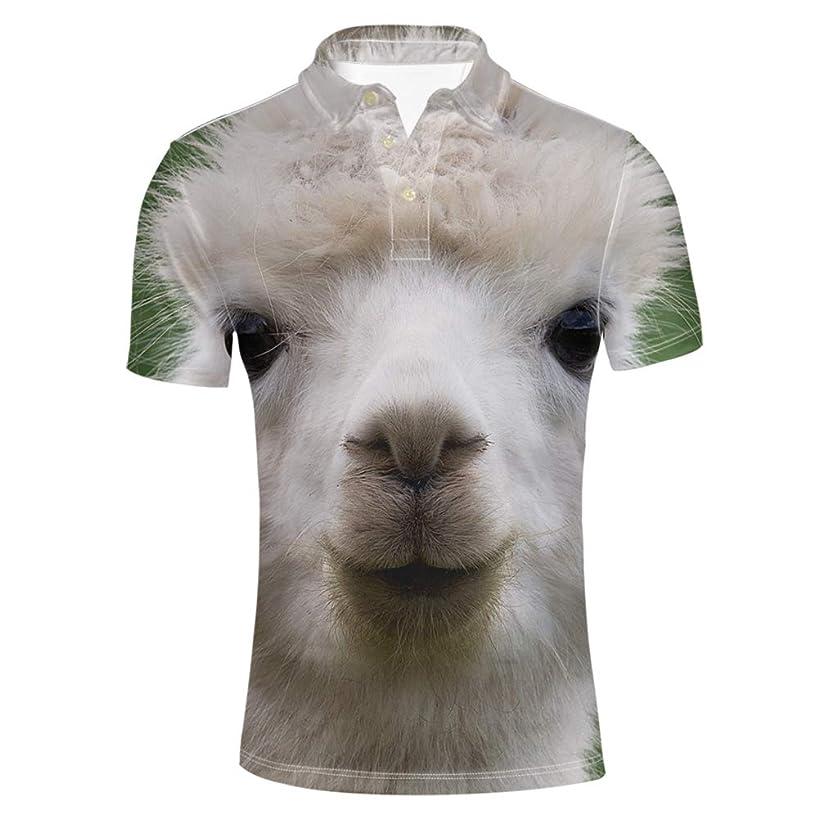 HUGS IDEA Men's Fashion Casual Short Sleeve Star Printed T-Shirt Collar Jersey Polos Shirt