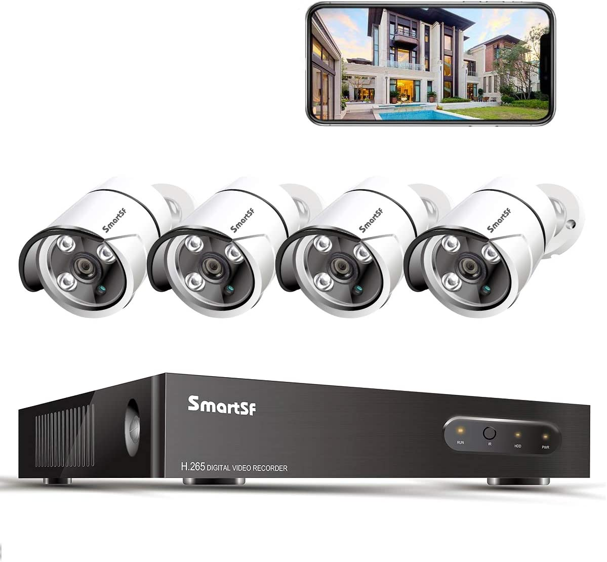 SmartSF 5MP PoE Home Security Camera System,4pcs Wired 5MP Outdoor PoE IP Surveillance Cameras 5MP 8 Channel NVR Security System for 24/7 Recording, No Hard Drive
