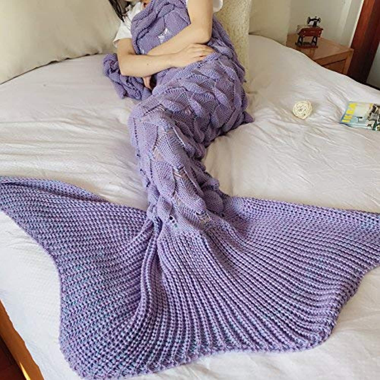 JINGB Home Mermaid Tail Knit Mermaid Sofa, bluee, 180  80CM (71  31.5 inch) (color   Light Purple, Size   180  80CM)