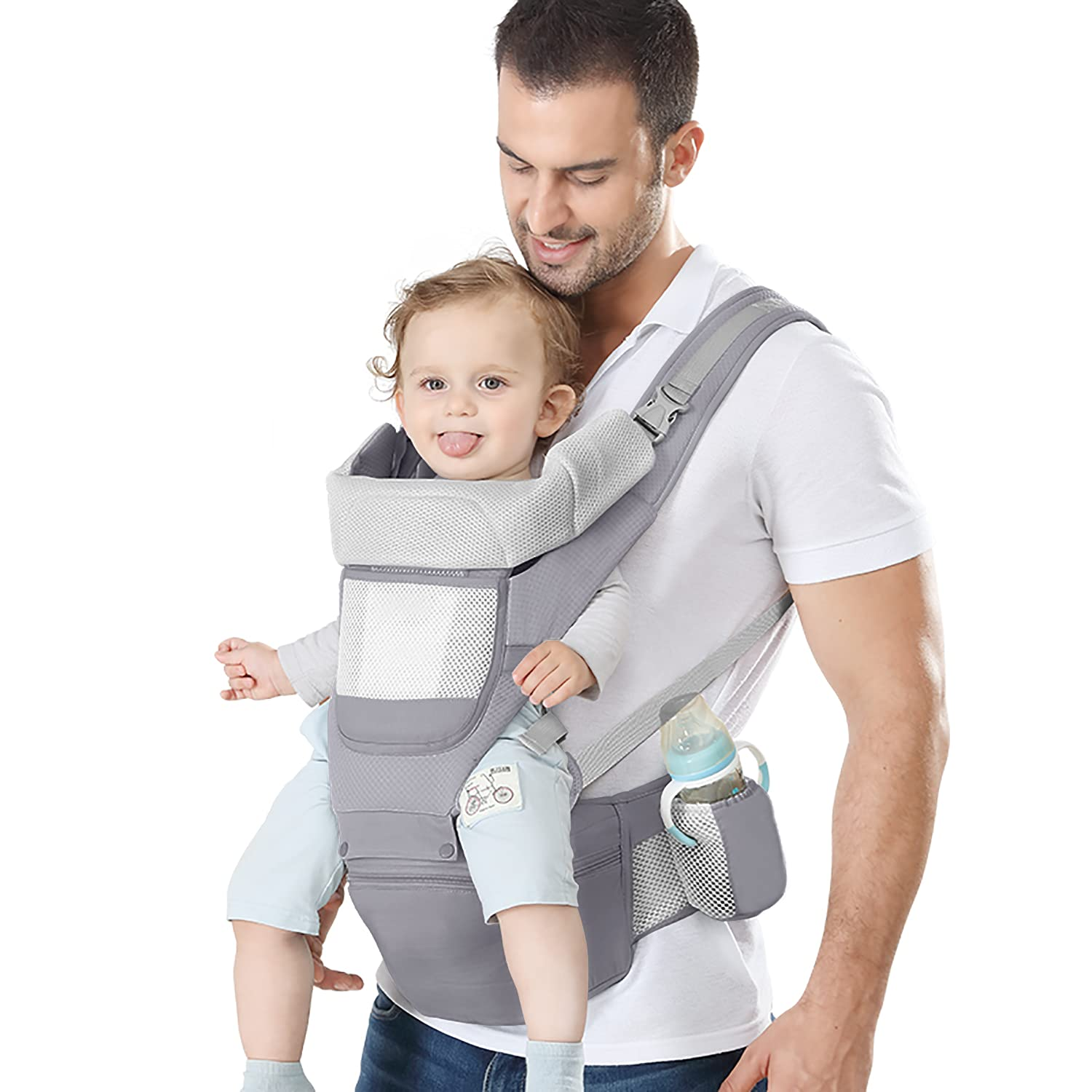 YSSKTC Baby Carrier with Lumbar Support - 360 All-Position Baby Wrap Carrier - 9-in-1 Front and Back Backpack Carrier for Baby, Toddler, Infant, Child, Newborn (7-66 Lb)… (Grey)
