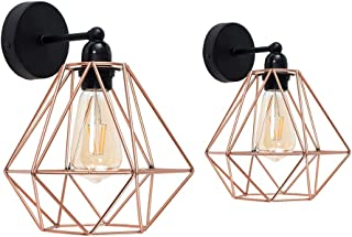 2pcs Diamond Wall Light, Motent Vintage Industrial Metal Basket Cage Lampshade, Modern Simplicity Loft Iron Wrought Wall Mounted Lighting Fixture with E26 Socket for Porch Stairway Bedroom - Rose Gold