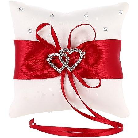 MINGZE Anello Cuscino Anello di nozze portatore cuscino decorazione romantico matrimonio nastro bowknot fascino strass amore cuore cuscino dell'anello (Rosso, 15 * 15cm)