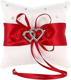MINGZE Anello Cuscino Anello di nozze portatore cuscino decorazione romantico matrimonio nastro bowknot fascino strass amo...
