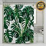 Tropic Plant Painting Duschvorhänge Aquarell Bananen Palmblätter Wasserdichte Badevorhänge mit gewichtetem Gummi am unteren Ende Hunter Green White 180cm × 180cm