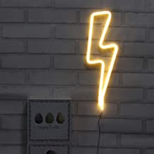Lightning Bolt Neon Wall Signs USB and Battery Powered Yellow Wall Art Decorative Neon Lights for Kid's Room Decor Lamp for Party Xmax Gifts(NELBT)