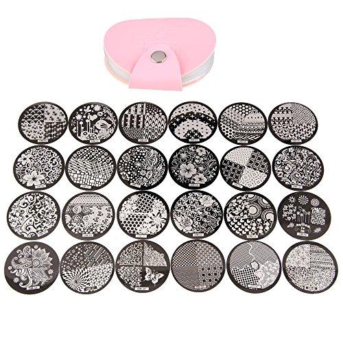 Beauty7 Nail Art Stamping 24 Plaques Pochoir en Metal Image Fleurs Plantes Designs Mixtes avec Etui Cuir PU Rose Bricolage Pour Ongle Manucure Cas Sac Timbre Organisateur Kit 01