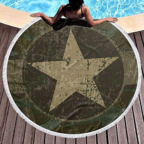 AEMAPE Toalla de Playa Redonda Militar Retro Star Camo Manta Grande Manta de Playa multipropósito