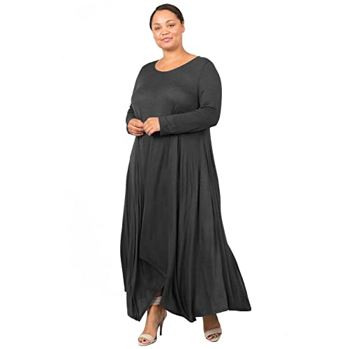 a09a259b69 Love In Women's Plus Size Long Sleeve Round Neck Flared Maxi Dress W/Pocket