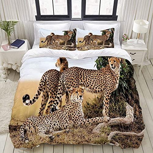 Juego de Funda nórdica de Microfibra Ligera, Familia de guepardos Fibra Hueca siliconada,Funda nórdica 220x240cm , 2 Fundas de Almohada 50x75cm
