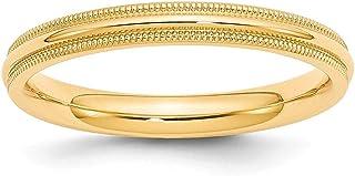 14ct oro Amarillo 3mm Milgrain ajuste cómodo anillo de banda–anillo tamaño opciones gama: H a Z