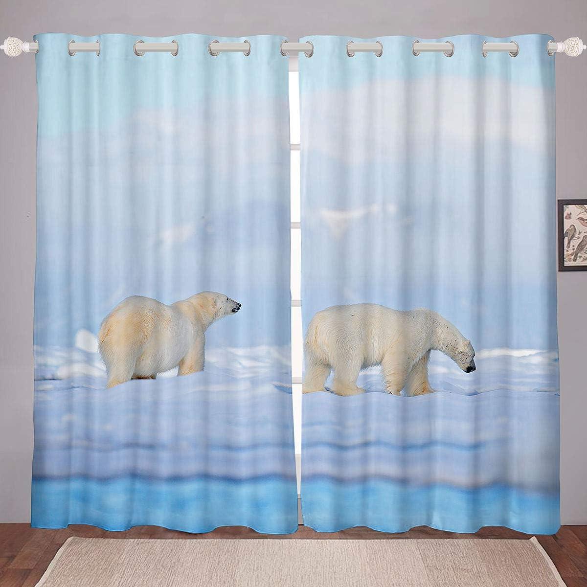 Polar Bear Curtains for Bedroom Window 70%OFFアウトレット Couple Animals ブランド買うならブランドオフ White