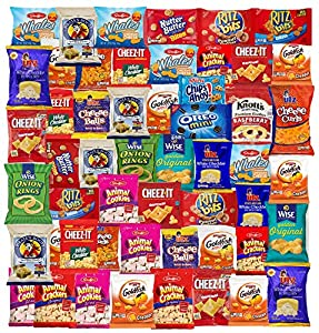 Care Package Snack Gift Box Cookies and Crackers (Count 60) for for Office, Meetings, Schools,Friends & Family, Military,College