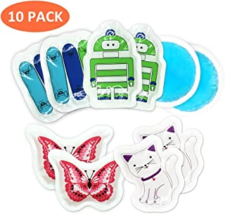 Kids Ice Cold Compress Pack for Kids Reusable - for Injuries, Instant First Aid, Bumps, Bruises, Fever Cooling, Breast, Puff Eyes, Toothaches and More - 10 Packs