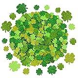 Sayala 240 Stück St. Patrick's Day Kleeblatt Glitter Schaumstoff Aufkleber, glückliche irische Selbstklebende Kleeblatt Aufkleber für Wand und Fenster haftet Dekoration, 2 Farbe