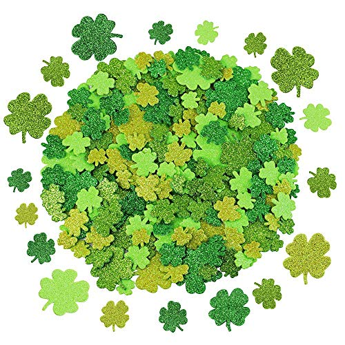240 Pcs 3 Sizes 4 Colors Glitter Foam Shamrock Stickers Lucky Irish Four Leaf Clover Stickers for St. Patrick's Day Kids Crafts Classroom Decorations