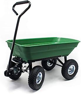 WilTec Carrito jardín basculante, Capacidad 55l, Carga 200kg, Carretilla de Transporte Carro de Mano