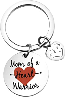 WUSUANED CHD Keychain Mom of A Heart Warrior Keychain Congenital Defect Awareness Gift for Heart Warrior Mom