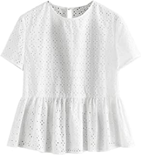 SheIn Women's Solid Hollow Out Short Sleeve Blouse Casual Keyhole Back Flare Hem Top