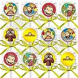 Curious George Party Favors Decorations Monkey Lollipops w/ Yellow Ribbon Bows Party Favors (12)