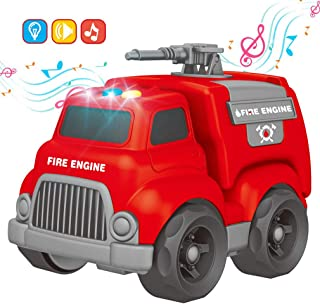 Fire Truck Toy Car with Light & Siren Sound Effects,Educational Toy Vehicle for Toddler Boys and Girls,Fire Engine Imaginative Play Toy for Kids & Children Age 3 4 5 6 7 8