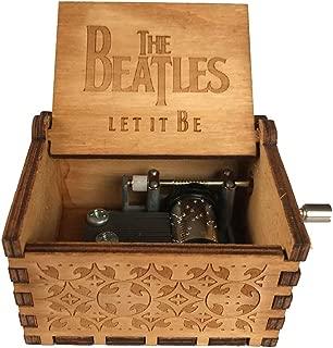 Caja de música de manivela de madera tallada antigua, caja musical exquisita del tema retro para el regalo del día de fiesta de cumpleaños size The Beatles