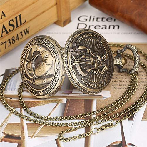 MOLINB Taschenuhr Vintage Taschenuhr Sankt Florian Feuerwehr Defensor Quarz Neckalce Uhr sinnvolles Geschenk für Herren Jungen reloj enfermeria, P3165
