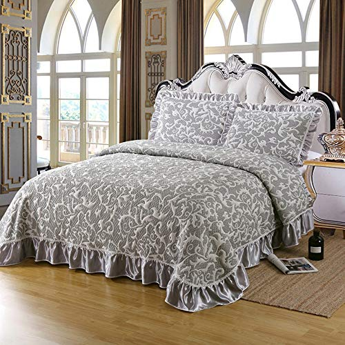100% Cotton 3-Piece Bedspread Quilt 3D Knitted Embroidery Pattern Elegant Double Soft Coverlets With 2 Pillowcases Quilted Bed Sheet/Bed Cover Decorative,Grey2-King:245x265cm+50x70cmx2