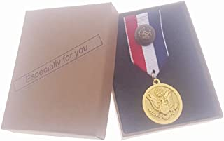 Commemorative Souvenir Badge Army Anniversary Eagle Round Golden Color