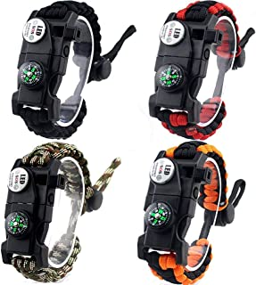 Lovelyes Paracord Bracelet Survival Gear,Outdoor Emergency Survival Bracelet with Waterproof SOS LED Light Emergency Knife Whistle Compass Fire Starter for Camping Hiking Cycling (4-Pack)