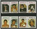 Rares Michael Jackson Erreur typographique Timbre Paires 8 Timbres de Quatre Paires émises en 1985 St Vincent/Menthe et Unmounted/inversé