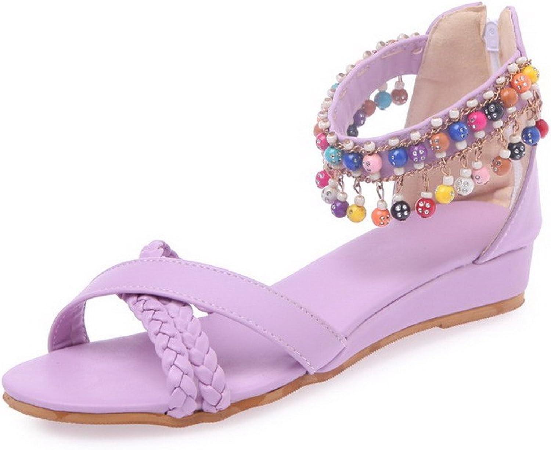 WeenFashion Women's Open Toe Low-Heels Soft Material Solid Zipper Wedges-Sandals