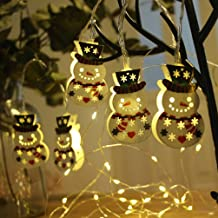 Mobestech Cordão de luz de boneco de neve alimentado por bateria de metal oco boneco de neve para decoração de árvore de N...