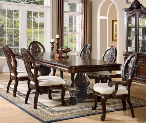 - 7pc Formal Dining Table & Chairs Set with Claw Design Legs Cherry Finish