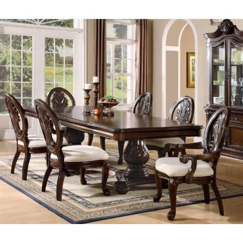 Amazon.com - 7pc Formal Dining Table & Chairs Set with Claw ...
