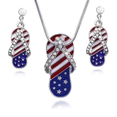 7d91cf36b cocojewelry 4th of July American Flag Flip Flop Sandal Earrings Necklace Set