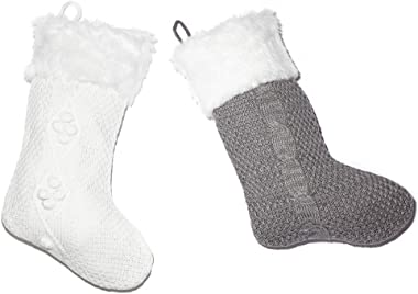 CSH White Christmas Stockings,Christmas Tree Decorations,2 Pcs 21 inches Winter Christmas Stockings with Plush Trim,Personali