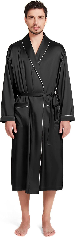 SIORO Men's Silk Satin Long Bathrobe mart Ranking TOP2 Robe Soft for Lightweight