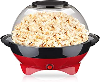 Popcorn Maker, Electric Hot Oil Stirring Popcorn Popper Machine with Large Lid and Non-Stick Coating, Fast Popcorn Machine