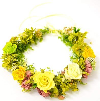 Lulu's ルルズ 幸せの花冠 イエローグリーン プリザーブドフラワー サイズ:直径約24㎝ Lulu's-1009