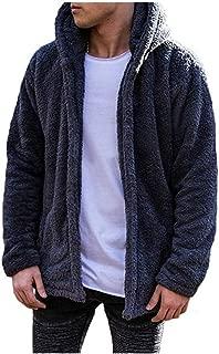 Men's Fuzzy Sherpa Fleece Shawl Collar Cardigan Hoodie Coats Winter Light Weight Jackets