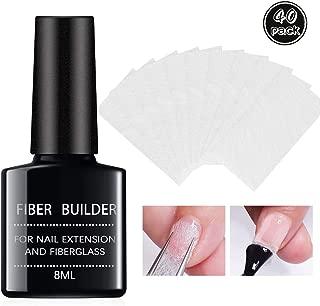 Ownest Magical Nail Extension Silk Fiberglass Kit, 40PCS Nail Care Fiberglass Silk Nails Wrap Stickers for Gel Extension Nail Art Tools-8ML