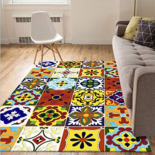 ANBAI Woonkamer tapijt en tapijt rooster etnische stijl kristal fluweel tapijt slaapkamer tapijt woonkamer eettafel accessoires
