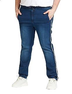 Splash Front Pocket Side Stripe Drawstring Denim Pants for Men 44