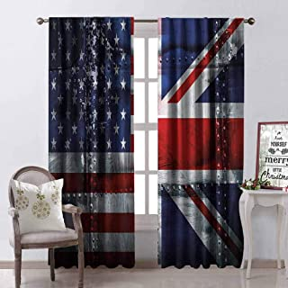 GloriaJohnson Union Jack 99% Blackout Curtains Alliance Togetherness Theme Composition of UK and USA Flags Vintage for Bedroom Kindergarten Living Room W42 x L90 Inch Navy Blue Red White