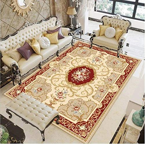 HPPSLT rugModernShort-pileEffectDecorativecarpet-Tea table classical exquisite carving art flower stain resistant decorative carpet-160x230CM