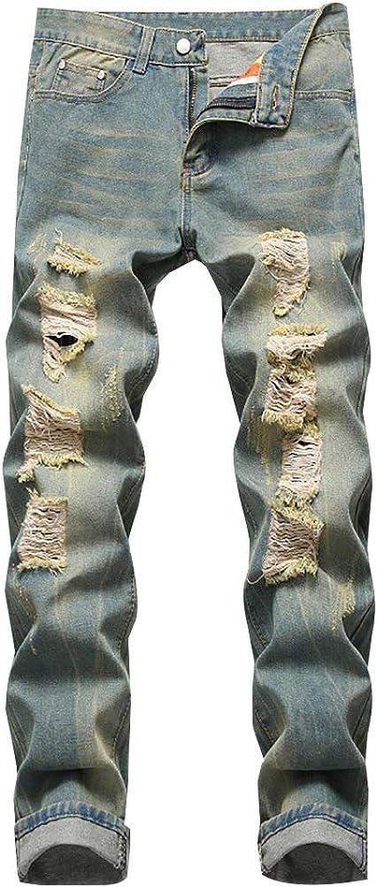 LONGBIDA Men's Ripped Distressed Destroyed Slim Fit Straight Leg Denim Jeans