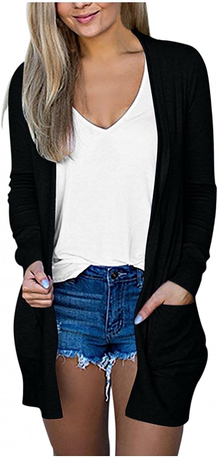 Cardigan for Women Fashion,Loose Lightweight Plus Size Coat Open Drape Long Sleeve Casual Outwear with Pockets