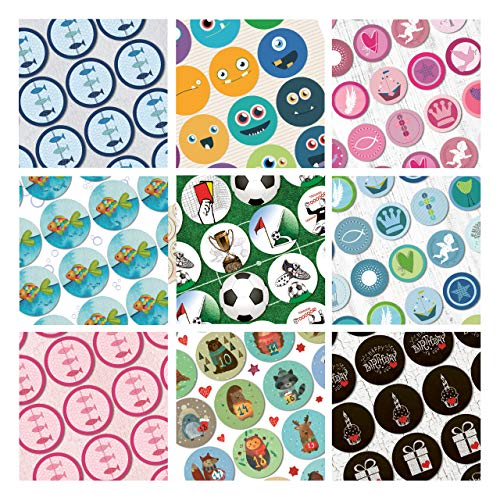 Logbuch-Verlag, stickerset 9 x 24 kleurrijke stickers, vrijetijdsbesteding, voetbal, blauw, roze, groen, 9 designs voor kinderen, zelfklevend, rond, knutselen, scrapbooking, kinderverjaardag, give-Away
